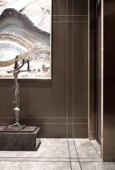 """""""You don't really need modernity in order to exist totally and fully. You need a mixture of modernity and tradition"""" - THEODORE BIKEL - Foyer Design, Lobby Design, Tile Design, Modern Interior, Home Interior Design, Interior Architecture, Interior Decorating, Wall Cladding Designs, Wall Cladding Interior"""