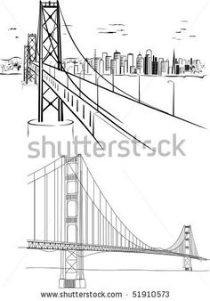 Illustration about Golden Gate bridge - hand drawing illustration. Illustration of place, famous, cityscape - 14047522 Golden Gate Bridge Images, Bridge Drawing, Drawing Projects, Drawing Ideas, Las Vegas, Charcoal Sketch, Step By Step Drawing, How To Draw Hands, Scene