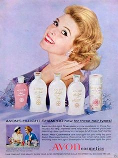vintage Avon adverts | ... AD: Avon Lady Calling Cosmetics Hi-Light Shampoo Vintage Bottles #AVON