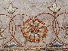 Mary Corbet, Tudor rose with lattice centre (via Reconstructedfabulousness,  Embroidery & Stumpwork Ideas & Motivation)