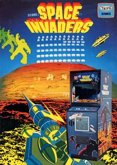 A promotional flyer for Space Invaders, an arcade video game developed by Tomohiro Nishikado and released in 1978 Vintage Video Games, Classic Video Games, Retro Video Games, Vintage Games, Space Invaders, Pac Man, Sega Genesis, Bartop Arcade, Arcade Table