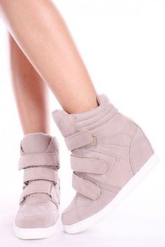 TAUPE FAUX SUEDE VELCRO BUCKLE HIDDEN WEDGE SNEAKERS