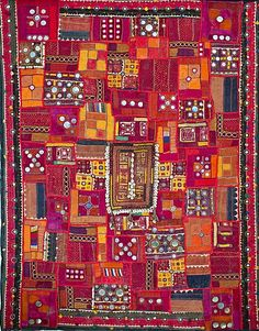 Indian tapestry with cowrie shells and mirrors, Jodhpur, Rajasthan, India, Asia