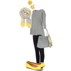 grey and yellow maternity outfit