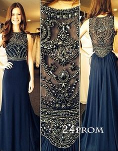 Dark Blue Chiffon A-line Beaded Long Prom Dresses, Evening Dresses – 24prom