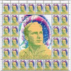 Ken Kesey Stamp BLOTTER ART - perforated acid art paper - Kesey Leary Hofmann Owsley Grateful Dead psychedelic lsd sheet tabs