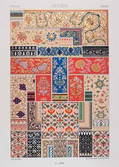 Chromolithograph that depicts a variety of traditional decorative designs. ca. 1875