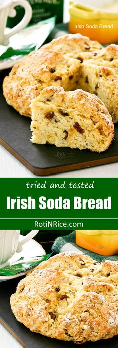 Tried and tested easy to prepare Irish Soda Bread flavored with caraway seeds, orange zest, and raisins. Delicious served with corned beef and cabbage. | RotiNRice.com