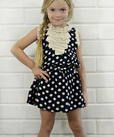 Love this Black & White Polka Dot Ruffle Dress - Toddler & Girls by Pretty Cute on #zulily! #zulilyfinds