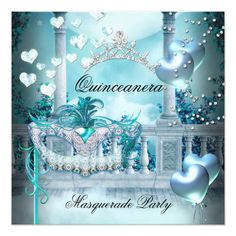 Masquerade Quinceanera 15 Teal Birthday Party 5.25x5.25 Square Paper Invitation Card