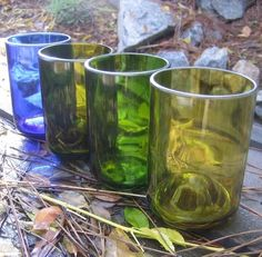 Upcycled Recycled Glass Wine Bottle ... FOUR Tumblers made from Reused Repurposed Bottles ECO FRIENDLY Glassware Glasses Tumblers by BottlehoodSanDiego, via Flickr
