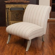 This chair is fresh, airy, and elegant.Overall dimensions: 29W x 28D x 19H in. Seat dimensions: 27.20W x 19H in. Light and earthy color palette with sandstone striping. Fresh and airy linen blend upholstering.