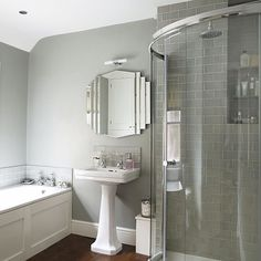After grey bathroom ideas? Grey bathrooms are very popular right now. Take a look at these fabulous dream bathroom schemes for grey bathroom inspiration Small White Bathrooms, Light Grey Bathrooms, Gray And White Bathroom, Gray Bathroom Decor, Art Deco Bathroom, Bathroom Styling, Beautiful Bathrooms, Small Bathroom, Bathroom Ideas