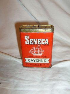 VINTAGE SENECA CAYENNE SPICE TIN LITHO CAN SHIP GRAPHIC EMPRESS CO VANCOUVER BC #SENECA
