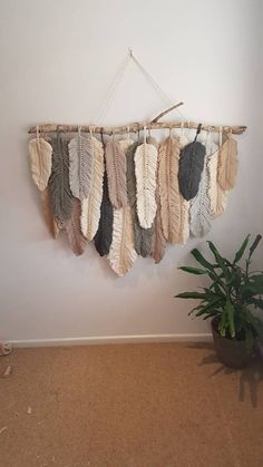 Feather wall macrame hanging | Etsy