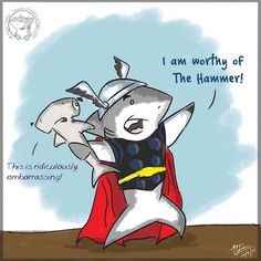 """""""Oh, Dakuwaqa!"""" - The Shark comics and cartoons: The hammer-wielding god of blunder Misunderstood Shark, Scuba Diving Quotes, Save The Sharks, Funny Animals, Cute Animals, 4 Panel Life, Shark Bait, Funny Memes, Hilarious"""