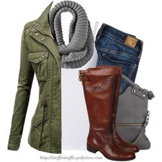 """""""Army green jacket, Gray knit scarf & Knee boots"""" by steffiestaffie on Polyvore #casualfalloutfits"""