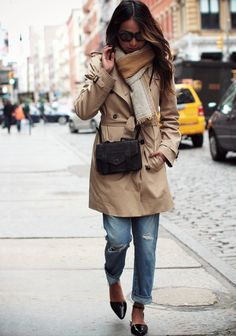 Sincerely Jules Is Wearing A Trench Coat From Babaton, Ripped Boyfriend Jeans By AG Adriano Goldschmied, Flats From Alexander Wang, Bag From...