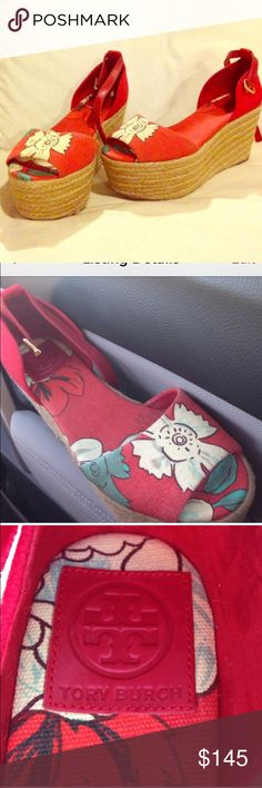 """🚨Price Firm Tory Burch Red Floral Wedges Cream floral fabric espadrille platform wedges with red fabric back counters and buckled tonal leather ankle strap. Gold-toned hardware. Rounded toe. Fabric insole and rubber sole. You walk on 25mm-1.25"""" 80mm-3.25"""" heel. 55mm-2"""" platform. New without tags 🚫NO TRADES. Please use the make an offer function as I do not negotiate in the comments. Thanks! Tory Burch Shoes Wedges"""