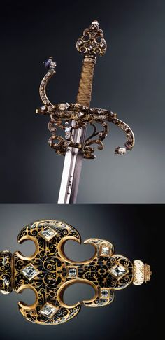 Rapier, 1604. A wedding gift among brothers. Steel, gold, Bohemian diamonds, pearl embroidery. Staatliche Kunstsammlungen Dresden