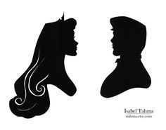 Once Upon a Dream Handcut paper silhouettes of Princess Aurora and Prince Phillip from Disneys Sleeping Beauty. Available on Etsy.
