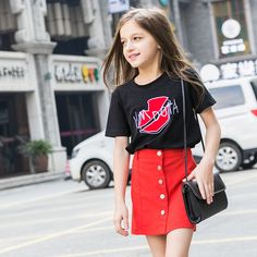 2016 Latest Fashion Kids Summer T Shirt Baby Girl Black Red Lip Teenager T-shirts Age 4 5 6 7 8 9 10 11 12 13 14T Years Old Teen