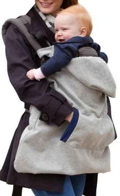 A hoodie baby carrier keeps both of you warm on chilly days.