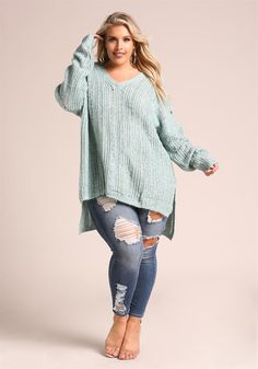 Plus Size Clothing | Plus Size Marled Knit Cut Out Hi-Lo Sweater | Debshops