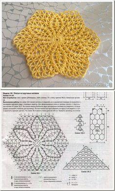 Crochet Earrings Pattern, Crochet Motif Patterns, Crochet Mandala, Crochet Diagram, Crochet Chart, Crochet Squares, Thread Crochet, Crochet Designs, Crochet Doilies