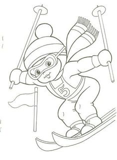 T T boy skiing Colouring Pages, Coloring Sheets, Coloring Books, Christmas Colors, Winter Christmas, Olympic Crafts, Theme Sport, Art Drawings For Kids, Christmas Coloring Pages