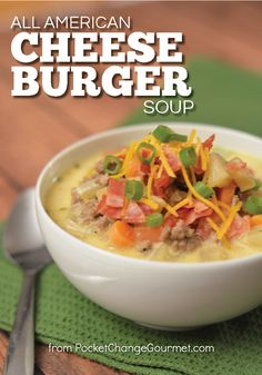 Warm up with this All American Cheeseburger Soup! A simple recipe that will WOW your family! Are you needing to warm up on these cold winter nights? Healthy Comfort Food, Healthy Soup, Comfort Foods, Healthy Tips, Edamame, Slow Cooker Recipes, Crockpot Recipes, Camping Recipes, Fast Recipes
