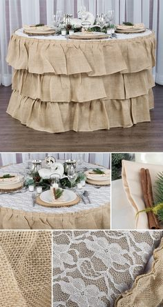 Holiday burlap and lace rustic table setting. Also great for weddings!