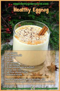 If you like coconut and eggnog, you'll love Creamy Coconut Eggnog. Eggnog made Hawaiian style with creamy coconut. Healthy Desserts, Healthy Drinks, Healthy Recipes, Healthy Food, Healthy Eating, Drink Recipes, Clean Eating, Raw Recipes, Vegan Food