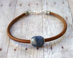 Sodalite and Sterling Silver Bead Mens Thick by SunnyBeachJewelry, $13.99