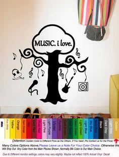 Music Vinyl Wall Sticker Music Tree Musical Notes Guitar Headphone Wall Art Sticker Class Room Wall Decal Kids Bedroom Decor