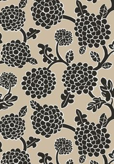 Nikko Wallpaper A printed wallpaper featuring stylised grapevines in black on a tan background.