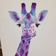 "16"" x 20"" acrylic painting Blue Giraffe by Lucy"
