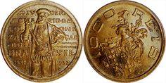 Moeda brasileira de bronze-alumínio de 1000 réis alusiva ao IV Centenário da Colonização do Brasil 1932 Da chamada série Vicentina