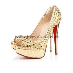 Christian Louboutin Lady Peep Spikes 150mm pumpt Gold-