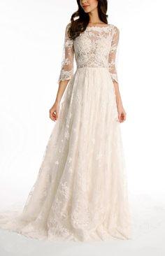 Tsbridal Lace Wedding Dress 2017 3/4 Sleeves Bohemian Wedding DressXC043-Ivory2