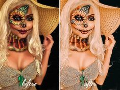 Looking for for ideas for your Halloween make-up? Browse around this website for cute Halloween makeup looks. Scarecrow Halloween Makeup, Unique Halloween Makeup, Halloween Tags, Halloween Makeup Looks, Cool Halloween Costumes, Halloween 2018, Disney Halloween, Halloween Outfits, Couple Halloween