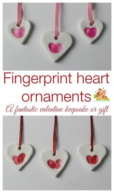 adorably simple fingerprint heart ornaments made using baking soda clay. They are really easy and inexpensive to make and make great keepsakes or gifts. We are using our as part of our valentines cards. How to make your own fingerprint heart ornaments bak Valentine's Day Crafts For Kids, Valentine Crafts For Kids, Baby Crafts, Toddler Crafts, Holiday Crafts, Mothers Day Crafts Preschool, Grandparents Day Crafts, Heart Crafts, Kids Diy