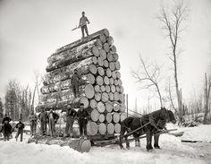 "Michigan circa 1890s. ""Logging a big load."" Continuing our Michigan travelog. 8x10 inch dry plate glass negative, Detroit Publishing Company. |"