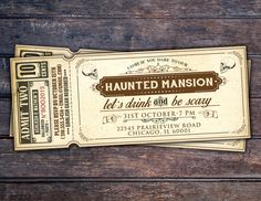 Halloween invite, Halloween party, Spooky Halloween invitation, Halloween invites, Spooky invitations, ticket invitation, haunted house by LyonsPrints on Etsy https://www.etsy.com/listing/245242292/halloween-invite-halloween-party-spooky
