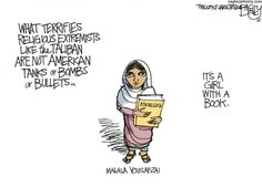 """Double Take 'Toons: Malala Recovering :: October 17, 2012 Malala Yousafzai, the Pakastani teenager who advocated education for girls in a diary online, is recovering after being shot by the Taliban. Pat Bagley and Taylor Jones offer their admiring support."""