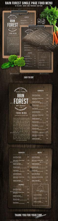 Rain Forest A4 & US Letter Single Page Menu