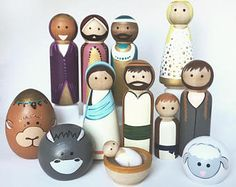 Full Nativity of Peg Dolls -- Wooden Nativity