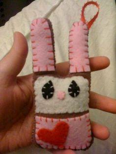 Felt Valentine bunny ornament