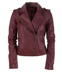 Women's leather jacket. Biker leather. Maroon Color. Love the design of this! I might prefer it in brown, for myself, however.