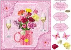 8x8ins Pink Flowers Wife Birthday Decoupage Card Front